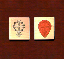 Huguenot Cross Open Rubber Stamp