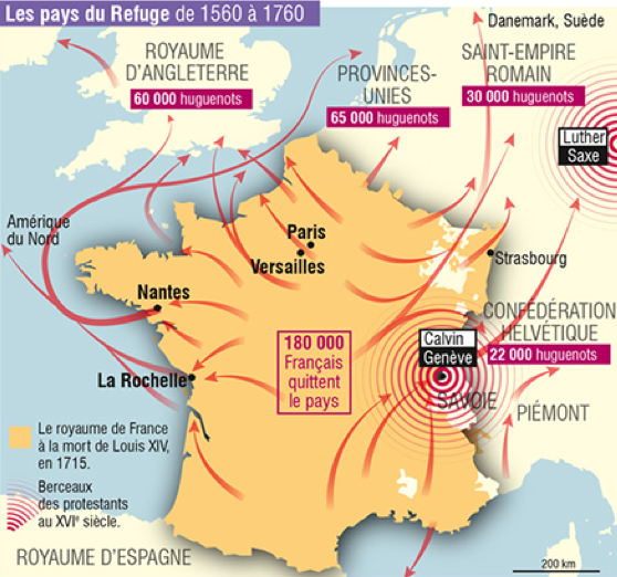 This map depicts Huguenot exodus from 1560-1760, a hot spot is visible at Geneva. (Map from LaVie.fr)
